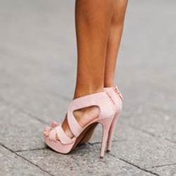 Ladylike Pink Cut-Outs Stiletto Dress Sandals