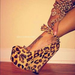 Shoespie Sexy Wild Leopard Wedge Heels