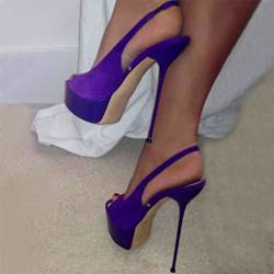 Fabulous Purple Suede Peep-Toe Platform Sandals