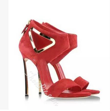 Sexy Red Cut-Out Stiletto Dress Sandals