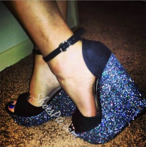 Shoespie Sexy Black Glitter Wedge Sandals