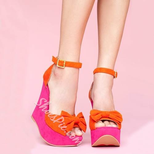 Ladylike Contrast Color Bowknot Decoration Wedge Sandals