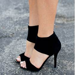 Simple Black Suede Ankle Wrap Dress Sandals