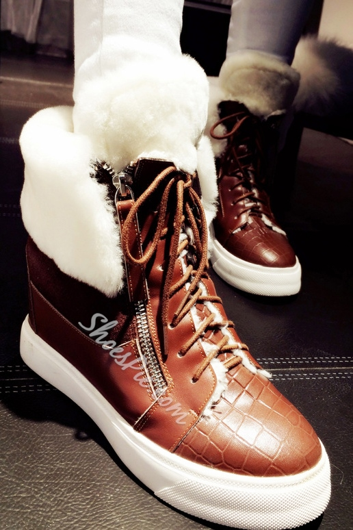 Cool Fur Patchwork Lace-Up Flat Heel Sneaker