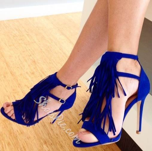 Dramatic Tassels Stiletto Dress Sandals