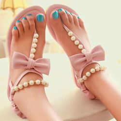 Shoespie Beading Bowtie Thong Flat Sandals