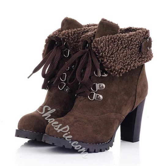 Stylish Nubuck Lace-up Ankle Boots