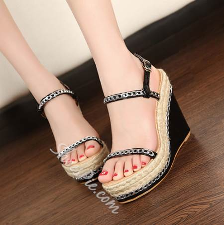 Amazing Metal Chain Ankle Straps Wedge Sandals