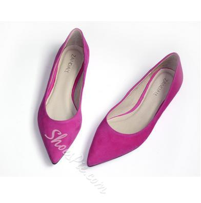 Fabulous Solid Color Suede Point Toe Flats