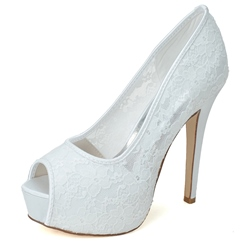 Fashionable Lace Stiletto Heel Peep toe Wedding Shoes