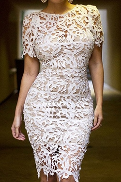 Shoespie Hollow Lace Knee-Length Short Sleeve Bodycon Dress