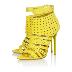 Yellow Hollow Out Strappy Dress Sandals