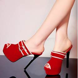 Shoespie Stylish Buckle Peep-Toe Platform Heel Slippers