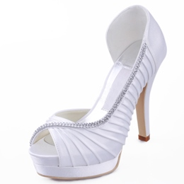 Elegant Stiletto Heels Diamonds Pleats Satin Wedding Shoes