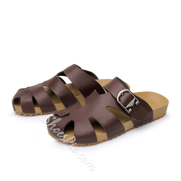Cut Out Strap Buckled Men's Slippers
