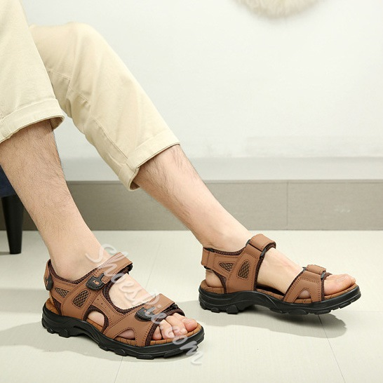 Cut Out Velcro Flat Heel Men's Sandals