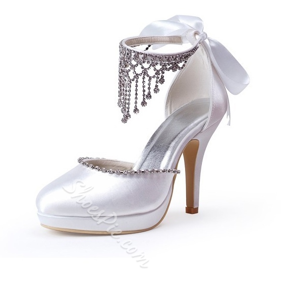 Celebrity Lace Bowknot Rhinestone Bridal Shoes