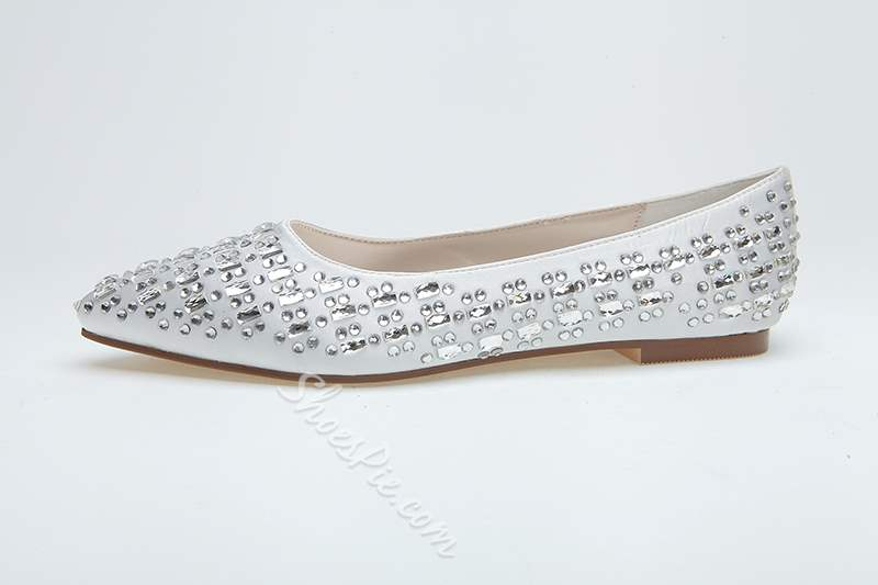 Exquisite Pure Color Closed-toe Crystal Satin Flats