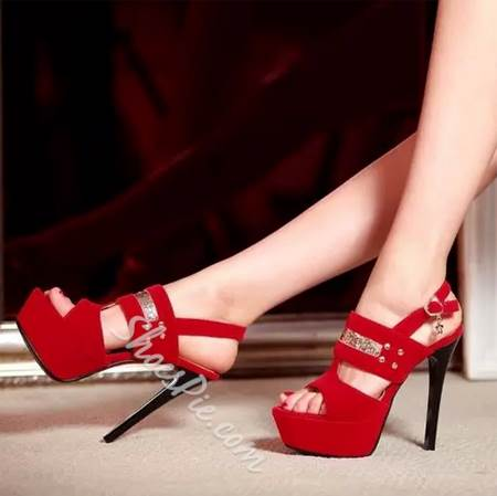 Fantastic Contrast Color Peep-Toe Dress Sandals