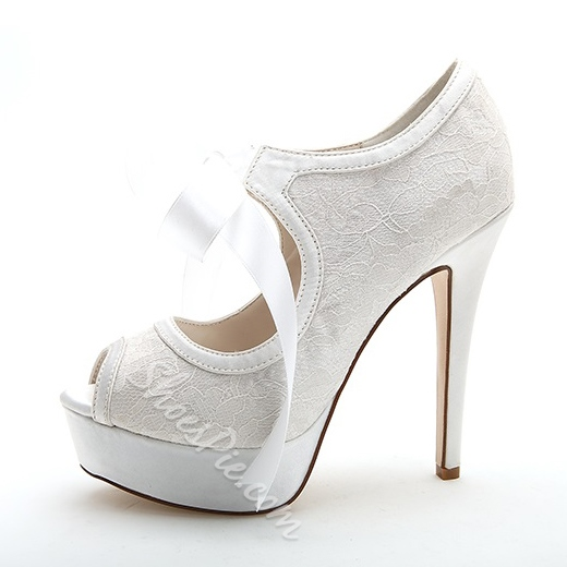 Elegant Lace Bowtie Peep-Toe Bridal Shoes