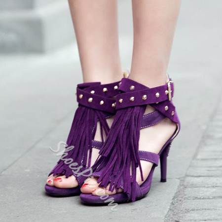 Wonderful Rivets & Tassels Decoration Dress Sandals