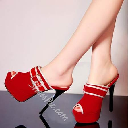 Stylish Buckle Peep-Toe Platform Heel Slippers