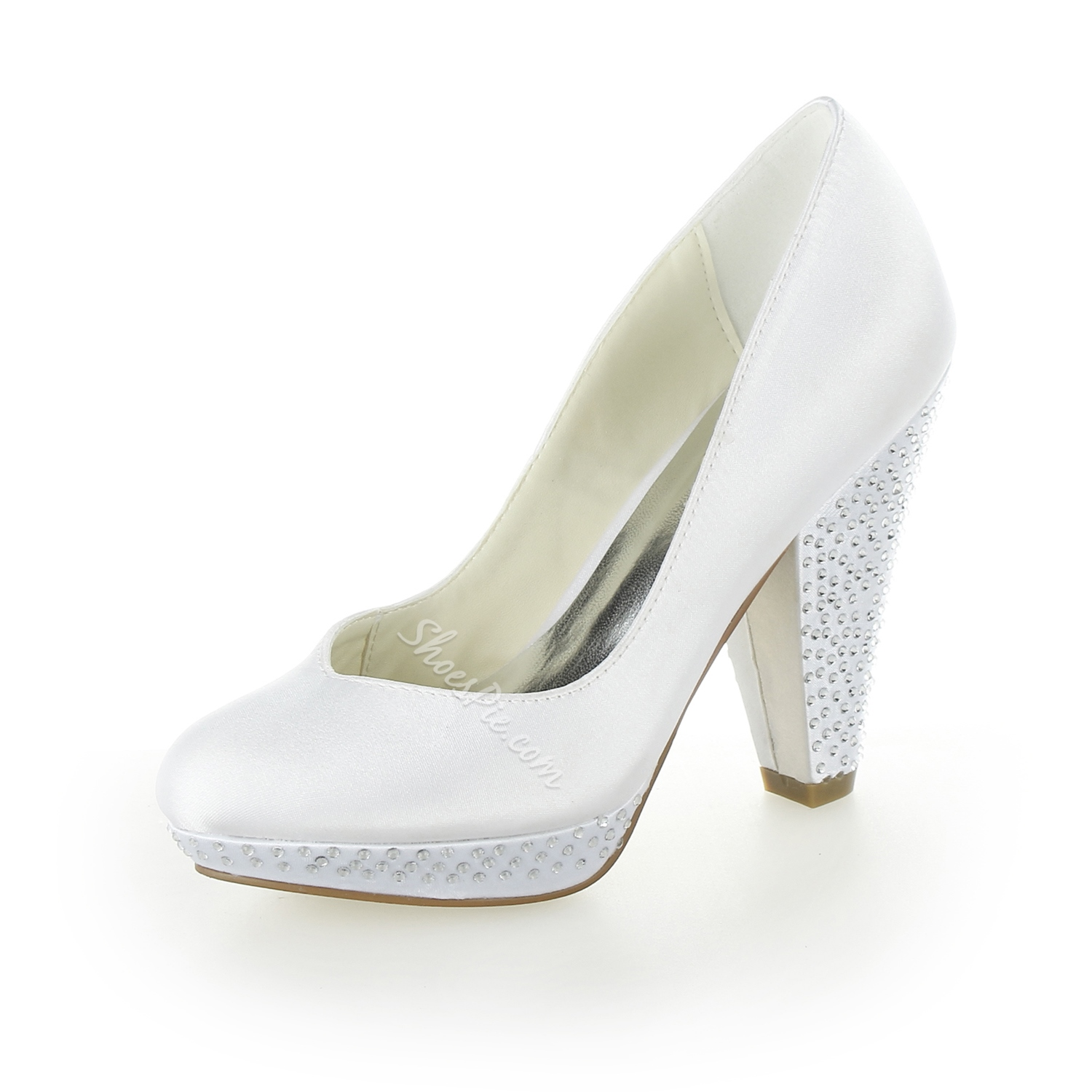Shinning Beaded Chunky Heel Bridal Shoes- Shoespie.com