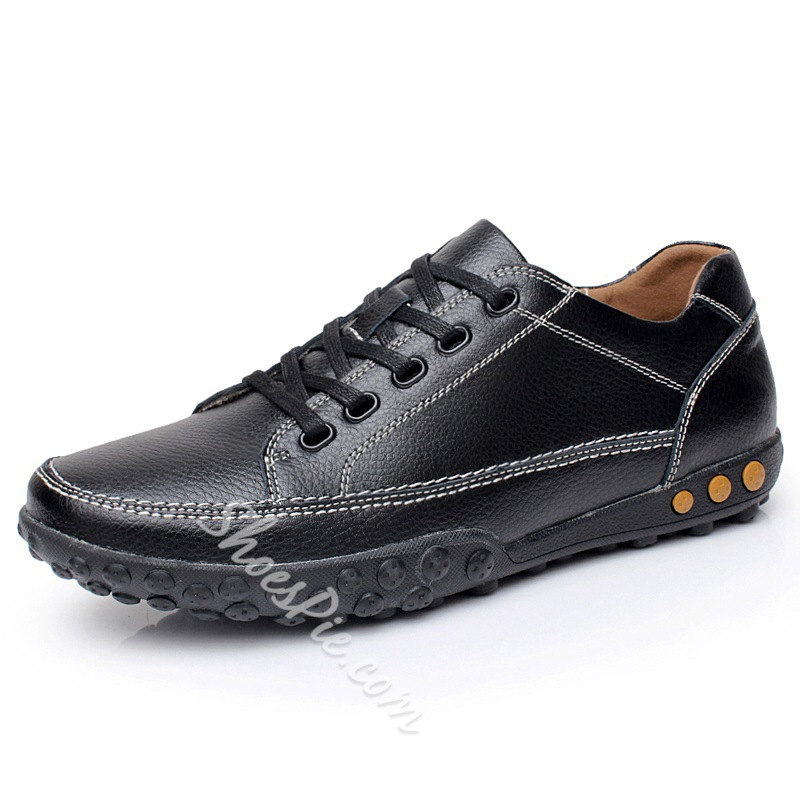 Lace-Up Low-Cut Upper PU Men's Oxfords