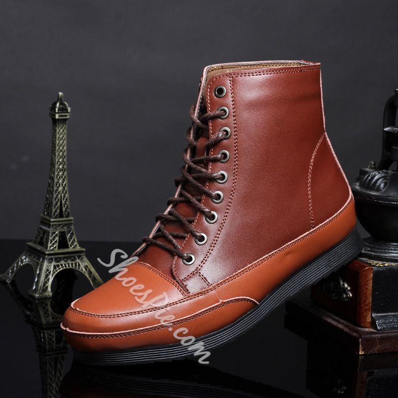 Color Block Patchwork Lace-Up Martin Men's Boots