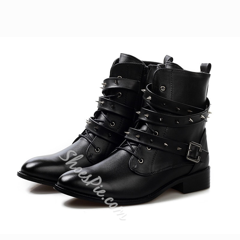Black Rivets Strap Buckled Martin Men's Boots