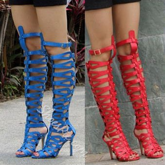 Fabulous Large Size Hollow Out Peep Toe Knee-High Gladiator Sandals
