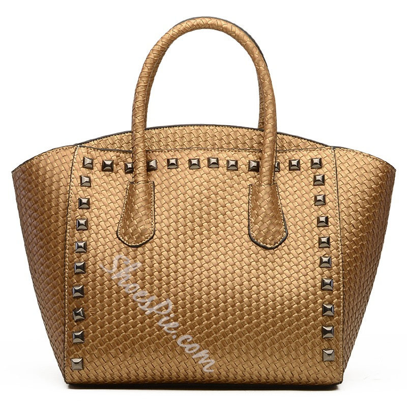 Shoespie PU Rivet Decorated Handbag