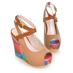 Sweet Color Blocking Peep Toe Ankle Strap Wedge Sandal