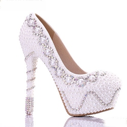 Rhinestone & Pearl Decorated Bridal Shoes