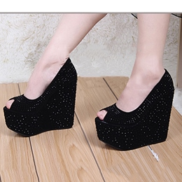 Shoespie Shining Rhinestones Peep Toe Platform Wedge Sandals