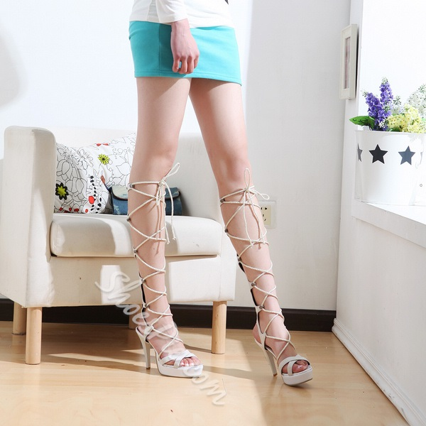 Sexy Lace-Up Hollow Knee-High Stiletto Heel Sandals
