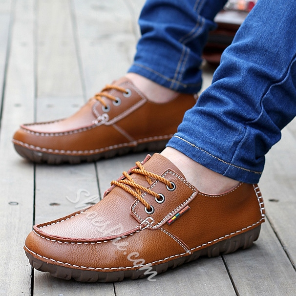 Solid Color Quilted Lace-Up Oxfords
