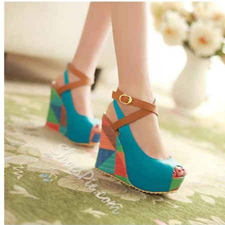 Shoespie Sweet Color Blocking Peep Toe Ankle Strap Wedge Sandal