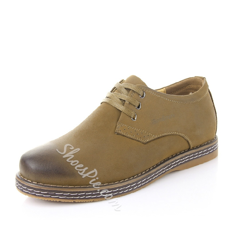 Nubuck Brush-Off Flat Heel Derbies