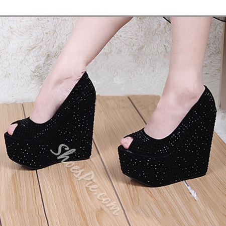 Shining Rhinestones Peep Toe Platform Wedge Sandals