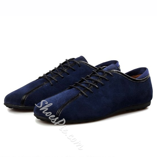 Shoespie Solid Color Patchwork Lace-Up Loafers