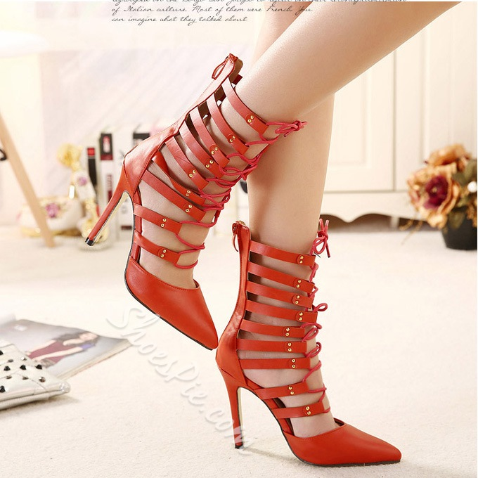 Sexy Retro Lace-up Cut-outs Stiletto Heels