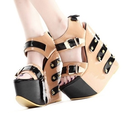 Fashionable Peep-Toe Super High Heel Wedge Sandals