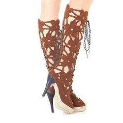 Shoespie Sexy Cowhide Large Size Cut-out Cross Strape Peep-toe Platform Sandals