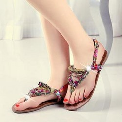 Shoespie Glaring Assorted Color Rhinestone Beach Style Flat Sandals