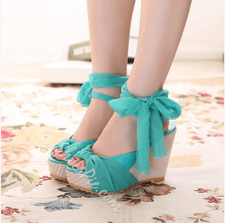 Shoespie Candy Color Silk Wedge Sandals