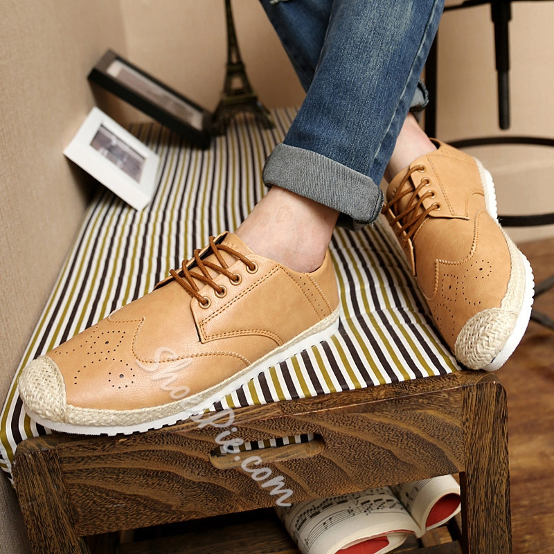 Solid Color Patchwork Brogue Loafers