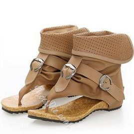Shoespie New Arrival Solid Color Cut-out Buckle Flat Sandals