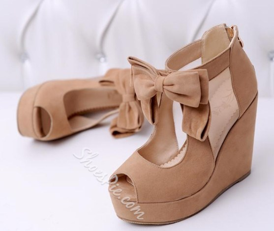 Sweet Korean Style Bowknot Wedges Sandals