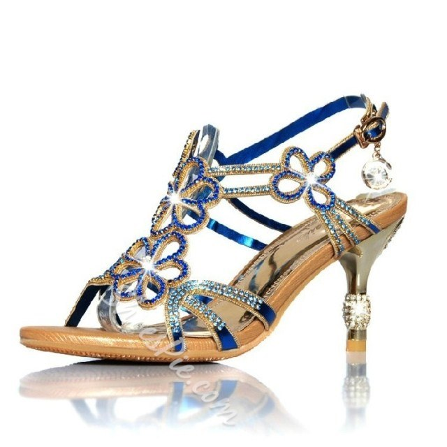 Crystal Rhinestones High-heeled Hollow Out Bohemia Dress Sandals